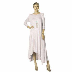 White Asymmetrical Drape Pocket Oversized Dress S